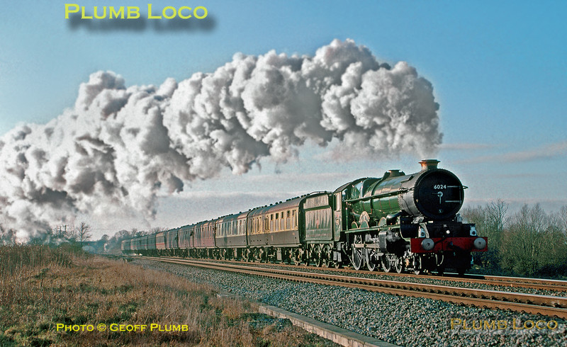 """GWR """"King"""" 4-6-0 No. 6024 """"King Edward I"""" accelerating away from Swindon at South Marston crossing with """"The Cotswold King"""" from Worcester to Didcot, 14:13, Friday 27th December 1996. Slide No. 25652."""