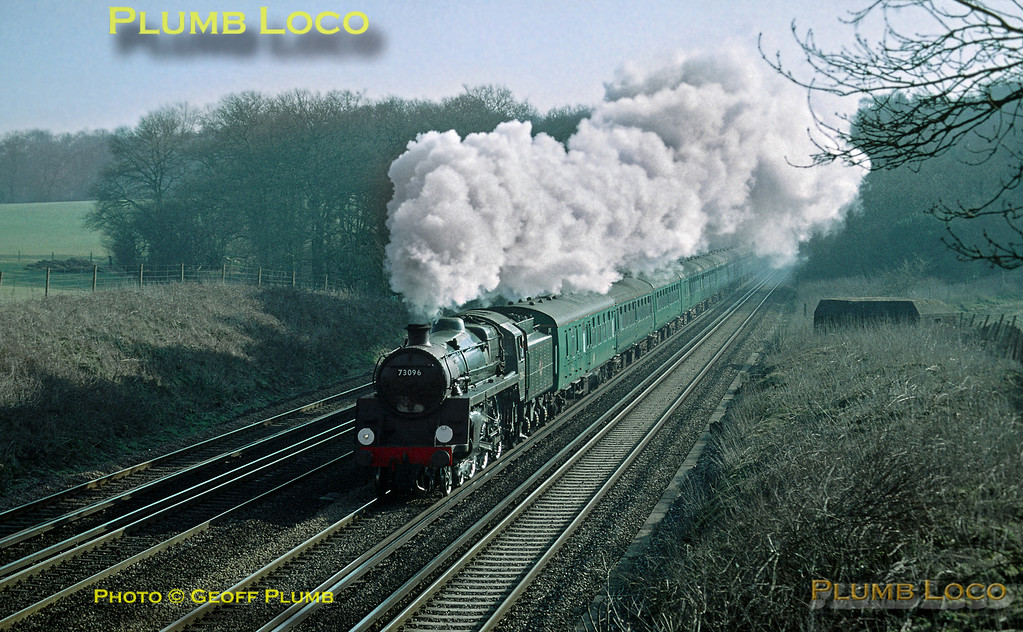 """BR Standard 5MT 4-6-0 No. 73096 bowls along the down fast line at Potbridge (Totters Lane) having just emerged from Winchfield cutting at 08:56, running some 10 minutes late with """"The Cathedrals Express"""", 08:00 from Waterloo to Exeter on Saturday 15th March 2003. Slide No. 32393."""