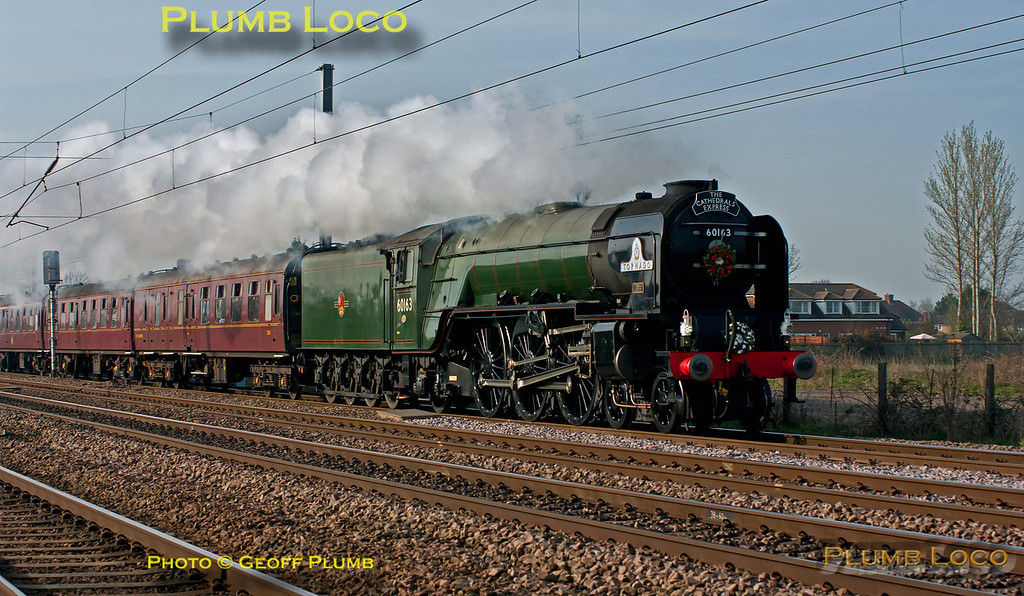 """A1 4-6-2 No. 60163 """"Tornado"""" is heading north along the ECML in charge of 1Z60, """"The Cathedrals Express"""", 07:56 from King's Cross to York and return, at the foot-crossing near Langford, a few minutes late at 09:18 on Thursday 29th March 2012. Digital Image No. GMPI11490."""