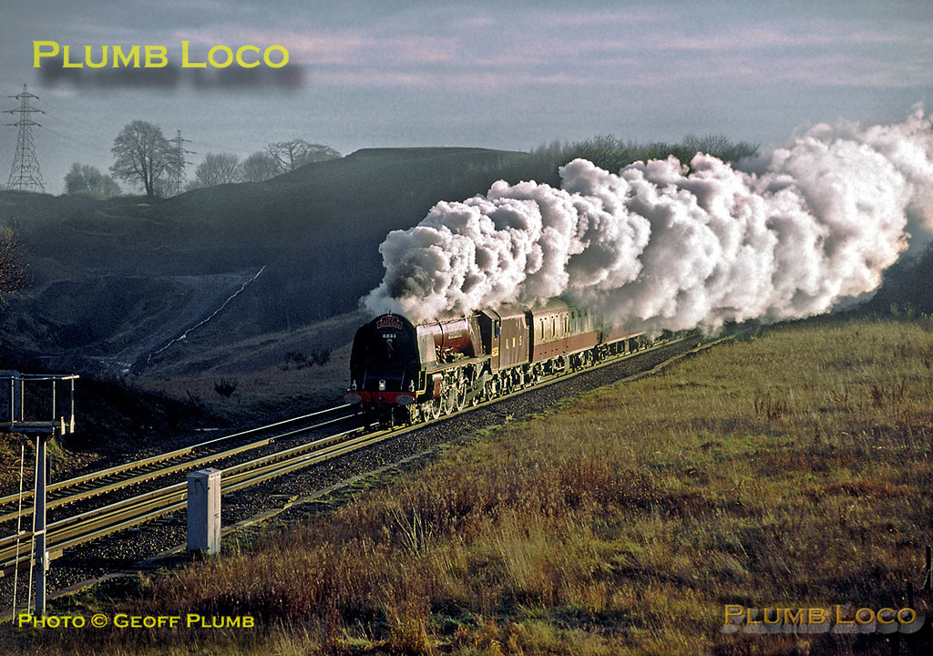 """LMS """"Princess Coronation"""" Class 4-6-2 No. 6233 """"Duchess of Sutherland"""" passing Kingsbury Brickworks with """"The Capital Duchess"""" from London Euston to Derby, 14:40, Saturday 15th December 2001. Slide No. 29298."""