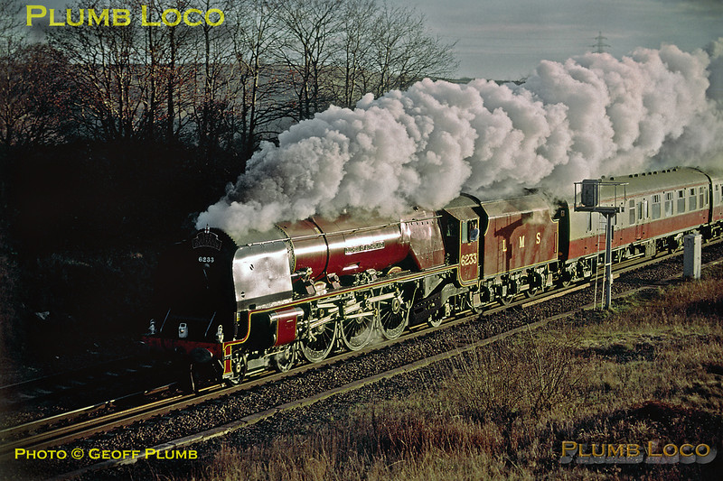 "LMS ""Princess Coronation"" Class 4-6-2 No. 6233 ""Duchess of Sutherland"" passing Kingsbury Brickworks with ""The Capital Duchess"" from London Euston to Derby, 14:40, Saturday 15th December 2001. Slide No. 29299."