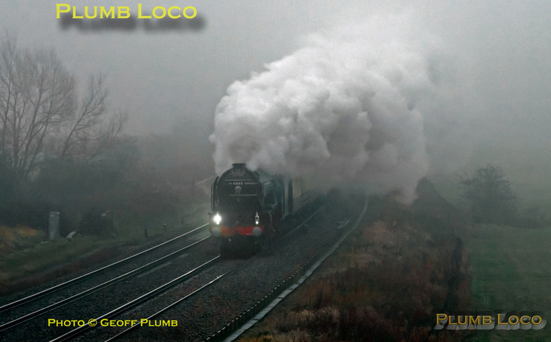 """Looming out of the fog, LNER A1 Class 4-6-2 No. 60163 """"Tornado"""" on its first outing in early BR Blue livery (though hard to tell in the appalling conditions!) as it works 1Z27, """"The Cathedrals Express"""" 08:00 from Paddington to Shrewsbury past Shrivenham at 10:06 on a filthy wet and foggy Saturday 24th November 2012. Digital Image No. GMPI12936."""
