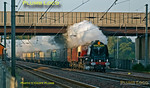 "Stanier LMS ""Duchess"" 4-6-2 No. 6233 ""Duchess of Sutherland"" is in full cry on the East Coast Main Line with ""The White Rose"" (though it is carrying the ""Royal Scot"" headboard at this stage) from King's Cross to Scarborough and return to Peterborough. It is almost on time at 07:14, just as the sun was rising. Saturday 9th September 2006. Digital Image No. IMGP2081."