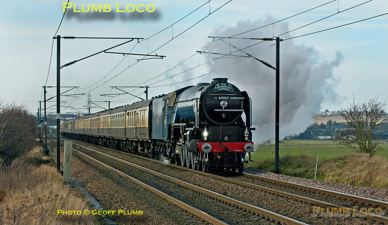 "Once more the sun decided not to play at the crucial moment as A1 4-6-2 No. 60163 ""Tornado"" approaches the foot-crossing east of Baldock with 1Z86, ""The Cathedrals Express"", 07:45 from Ashford International to Norwich, with 67022 on the rear, running around 17 minutes late. 11:40, Saturday 15th December 2012. Digital Image No. GMPI13263."