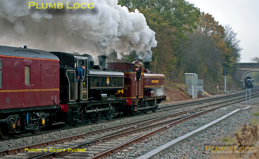GWR 0-6-0PT Pannier Tanks Nos. 7752, running in its final form as L94, and 9600 are at the head of 1Z52, the 09:15 from Tyseley Warwick Road to Leicester and return via a somewhat circuitous route. They have just passed Whitacre Junction at Shustoke, en route to Nuneaton at 10:32, running around 15 minutes late on the dull morning of Saturday 19th November 2011. Digital Image No. GMPI10634.