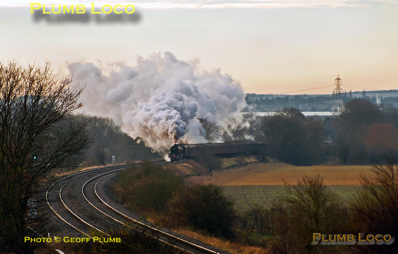 "After stopping at Didcot Parkway station, 6201 ""Princess Elizabeth"" is roaring back into her stride as the train approaches Culham at 09:43 on Saturday 1st December 2012. This was 1Z71, ""The  Worcester Anniversary Christmas Fayre"", 08:05 from Paddington to Worcester and return. Digital Image No. GMPI13006."