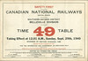 Canadian National Railways Belleville Division Employee Timetable 49 1940 September 29th. Front cover.