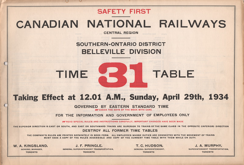 CNR Belleville Division employee timetable 31 1934 April 29 - cover