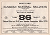 1952 September 28 Canadian National Railways Belleville Division Employee Timetable 86 - front cover