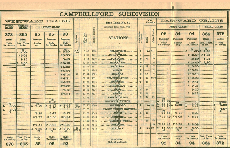 canadian national railways employee timetable 61 1945 june 24 southern ontario district belleville