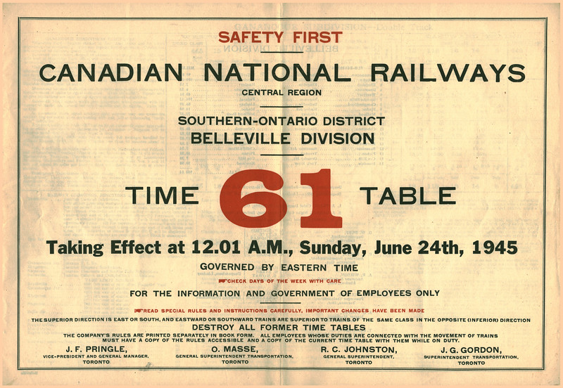 Canadian National Railways Employee Timetable 61 1945 June 24. Southern-Ontario District, Belleville Division. Cover.