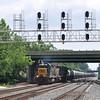 5/29/11<br /> St Denis Marc Station<br /> K675-26<br /> West Bound<br /> Ethanol Empties<br /> Old Main Line<br /> No. 8427 – 8365 – 7392