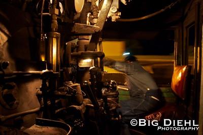 Engineer Jose brings locomotive 488 into the Chama Yard. ©2010 William Diehl