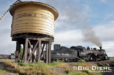 489 pulls past the Antonito water tank so it can be put away in the engine house for the evening.