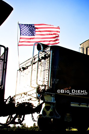 Old Glory waves from the rear deck of Cumbres and Toltec locomotive #488. ©2010 William Diehl