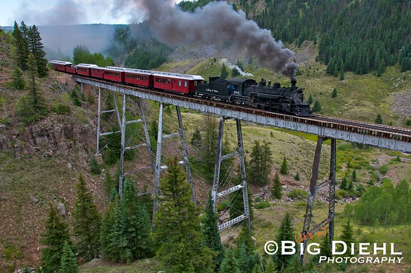 Cascade Trestle, Westbound.  From what We've been able to tell, very few photographers have made it to this side of the canyon to grab a shot.  We're above track level approximately 15 to 30  feet above track level on a bluff.  Most photographers choose the southern side of the bridge for ease of access.
