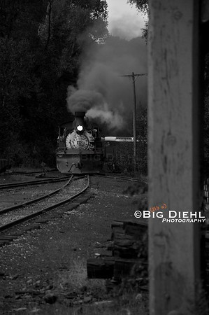 The daily train from Antonito is seen entering the Chama Yard after crossing the Chama River.