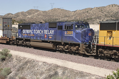 UP SD70M No. 2001 in Olmpic livery. Cajon Pass. 07/05/2007.