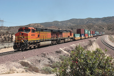 The rear end helpers BNSF 5251 & BNSF 4958 (both C44-9W's) are pushing hard on the final assualt to the summit. 07/05/2007.