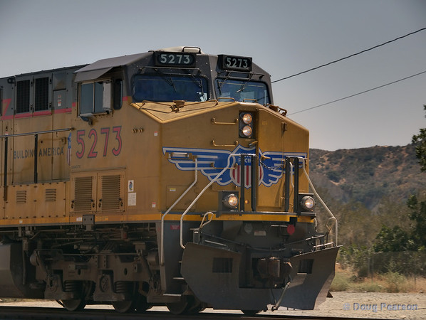 UP 5273 pulling a train North / East bound through Devore.