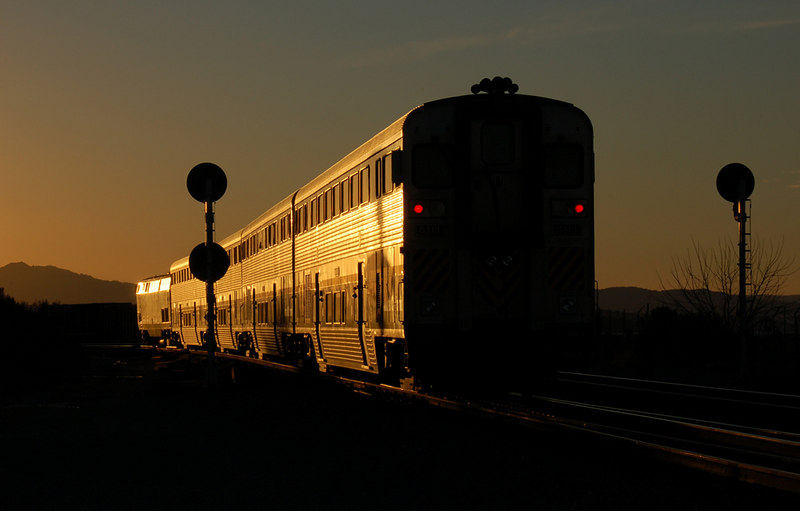 "A Capitol Corridor train ""riding off into the sunset."""