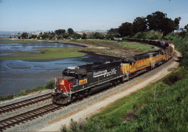 Three GP40-2's lead a long mixed freight through the big curve at Pinole. GP40's are not common power on UP road freights, let alone three of them together. April 2005.