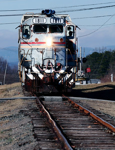 CWCY 1811 heads south through Sawmills, NC on a beautiful January afternoon in 2008.  Note the NC mountains in the background, during the humid summer they are rarely visible from this distance.