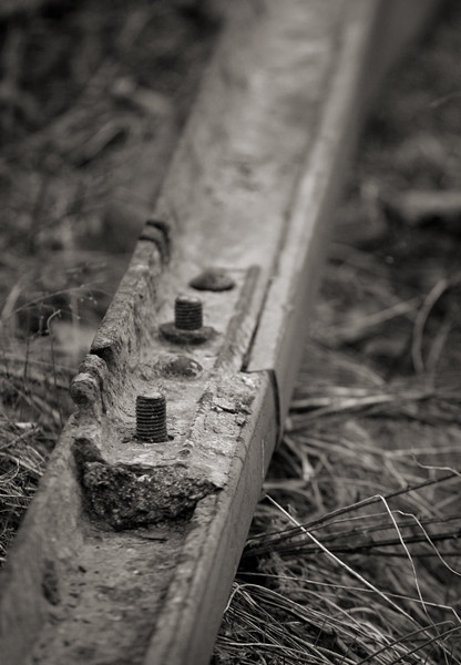 Old tracks sitting along the line rusting away, Whitnel, NC.