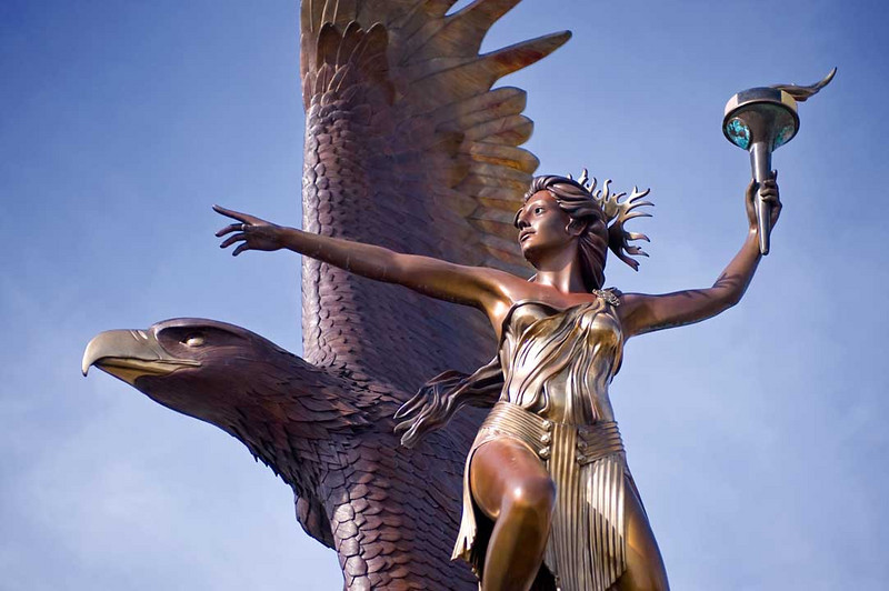 Statue of goddess and eagle at Jack London Square
