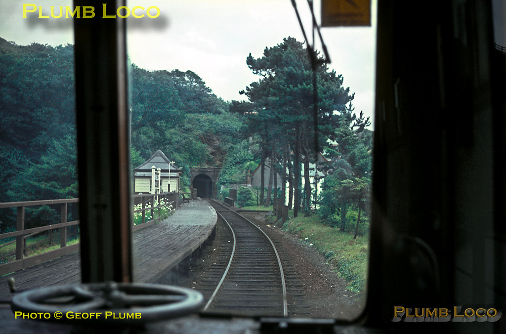 Looking back at Penhelig Halt from the rear of a DMU as it pulls away with a working from Machynlleth to Barmouth, next stop at Aberdovey. August 1966. Slide No. 2473.