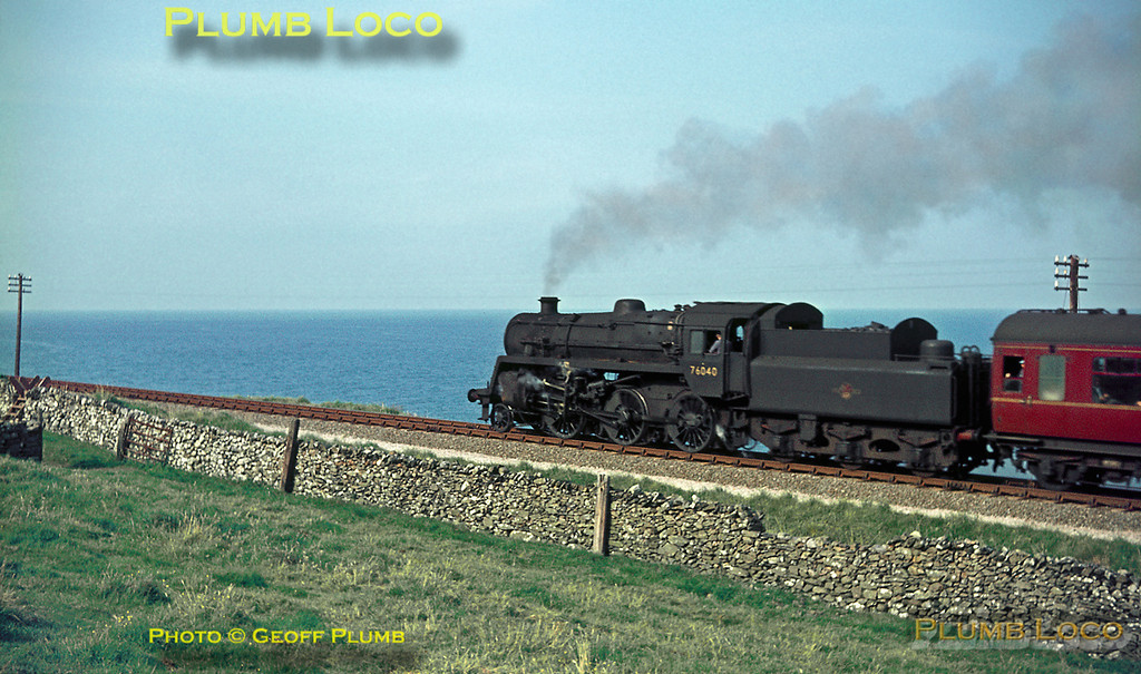 """BR Standard 4MT 2-6-0 No. 76040 hauls the up """"Cambrian Coast Express"""" along the coastline between Friog Cliffs & Llwyngwril, en route from Pwllheli to Machynlleth. There it will join up with the portion of the train from Aberystwyth before continuing to Shrewsbury, Birmingham and London Paddington. Friday 19th August 1966. Slide No. 2478."""
