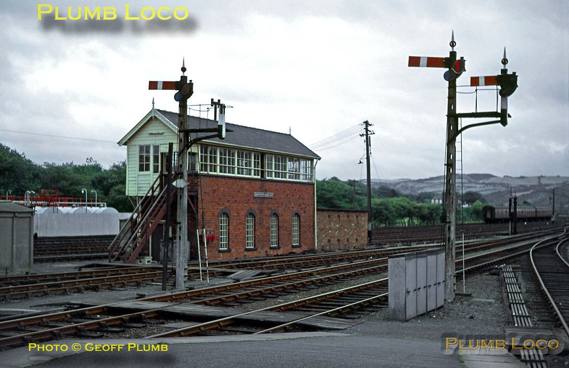 Aberystwyth signal box still controlled a wonderful array of lower quadrant semaphores at this stage, though some had already been removed. View from the country end of the station in August 1966. Slide No. 2456.