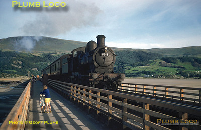 "From the Geoff Plumb Collection of original slides. GWR ""Dukedog"" Class 4-4-0 No. 9013 crossing Barmouth Viaduct with a train bound for Pwllheli on the evening of Tuesday 22nd July 1958. Photo by D.E. White. Collect Slide No. 29335."