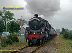 """BR Standard 4MT 2-6-0 No. 76079 is going hell for leather as it storms past Talsarnau station, soon after the stop at Harlech, with """"The Cambrian"""", 10:05 from Machynlleth to Pwllheli at 11:32 on Wednesday 27th August 2008. Covered in a genuine layer of grime from hard work, the loco looks like a proper working machine rather than a polished museum piece! Digital Image No. GMPI0504."""