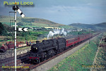 """The Pwllheli portion of the down """"Cambrian Coast Express"""" is passing the Talyllyn Railway's Tywyn wharf as it approaches the stop at Tywyn station with BR Standard 4MT 2-6-0 No. 76040 in charge. A lovely summer evening in August 1966. Slide No. 2476."""