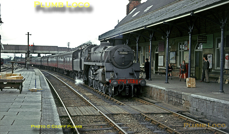 "BR Standard 4MT 4-6-0 No. 75002 arrives at Welshpool with an up express from Aberystwyth to Paddington on Saturday 31st August 1963. The engine came off the train here and was replaced by 7827 ""Lydham Manor"" for the onward journey. Slide No. 363."