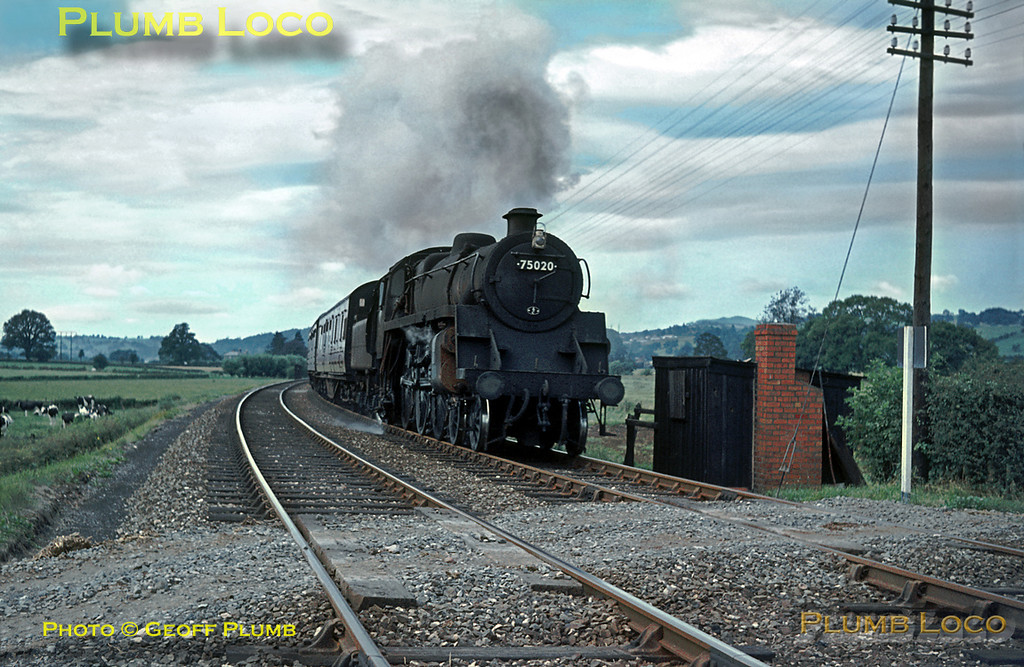 """BR Standard 4-6-0 No. 75020 is now returning from Welshpool with the 12:06 departure to Oswestry, here approaching the occupation crossing near Buttington Hall. The tracks here were two parallel single tracks, one for the Oswestry line and one for the Shrewsbury line, both operated bi-directionally to the former junction at Buttington which was """"rationalised"""" after the station's closure. The line to Oswestry was closed in 1965 and lifted, leaving just a single track at this location. Monday 27th July 1964. Slide No. 835."""
