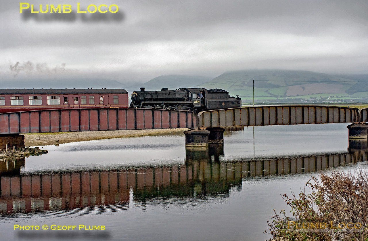 BR Standard 4MT 2-6-0 No. 76079 drifts down the grade from Tonfanau and crosses the bridge over Broad Water en route to Tywyn and Machynlleth with the 14:55 from Porthmadog, 16:16, Thursday 28th August 2008. Digital Image No. GMPI0553.