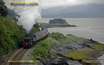 "BR Standard 4MT 2-6-0 No. 76079 skirts the shore of the Dyfi estuary as it works the 10:05 Machynlleth to Porthmadog ""The Cambrian"", on this occasion consisting of five coaches, as it rounds the curve towards Picnic Island near Penhelig. 10:23, Thursday 28th August 2008. Digital Image No. GMPI0534."