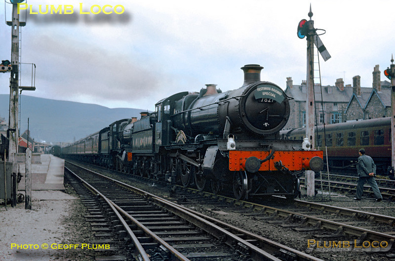 "GWR ""Manor"" Class 4-6-0s Nos. 7827 ""Lydham Manor"" & 7819 ""Hinton Manor"" double-head the ""Festiniog Railway Special"" from Paddington to Porthmadog. The train had been hauled from Paddington by 4472 ""Flying Scotsman"" as far as Ruabon, where the ""Manors"" took over. Saturday 20th April 1963. Slide No. 18."