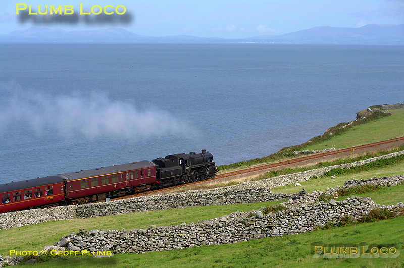 """BR Standard 4MT 2-6-0 No. 76079 attacks the climb of Llangelynnin bank with 1J77 """"The Cambrian"""", 10:04 from Machynlleth to Pwllheli, at 10:40 on Monday 24th August 2009. Digital Image No. GMPI2755."""