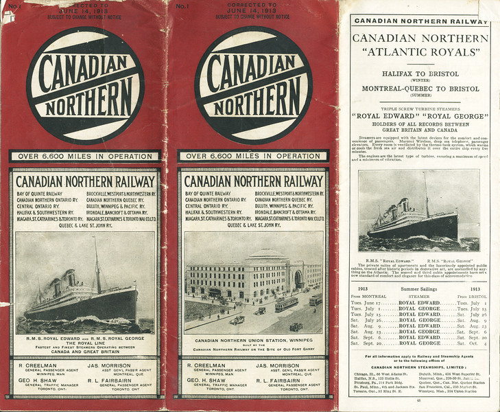 Canadian Northern Railway Timetable 1913 June 14th. Front cover.