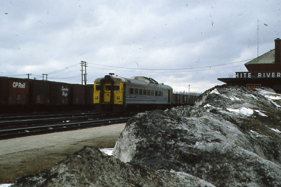 Via RDC on CP track at White River, Ontario.