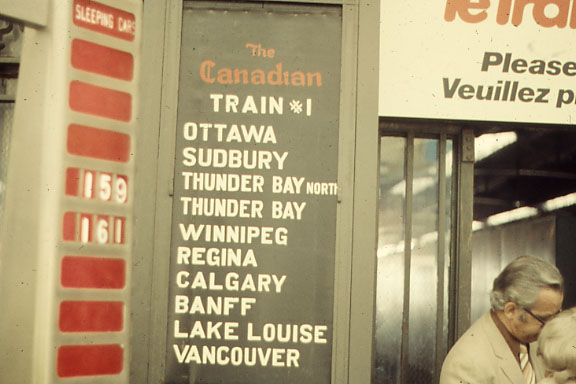 Windsor Station in Montreal. This shows the departure board in the era before VIA.