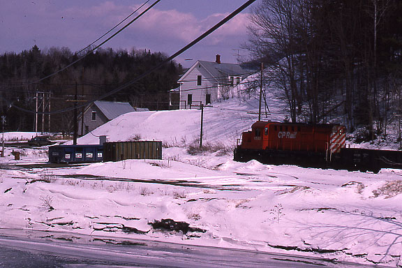 1992 when the CP still operated in Vermont over trackage purchased from the Boston and Maine RR.  Near Lyndon, VT