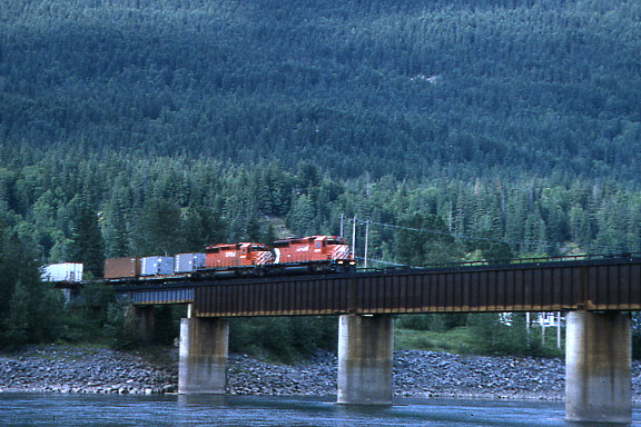 CP Container Train on Bridge 1991