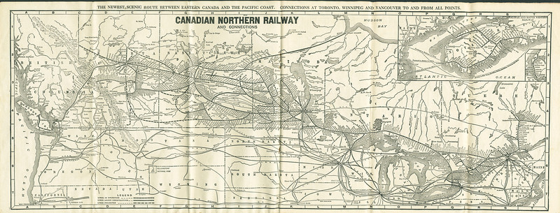 Canadian Northern Railway timetable Spring Service 1917. System map.