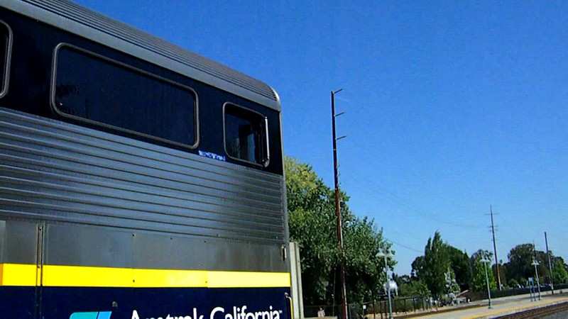 With a P42 working the train in push mode, Amtrak Capitol Corridor train 530 departs Martinez to resume it midday run from Oakland to Sacramento on 9-14-11.