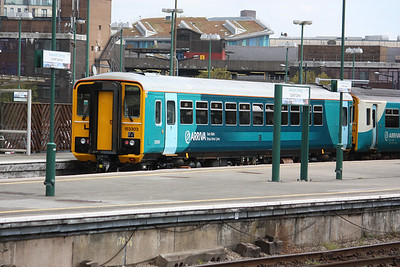 153303 newly repainted at Cardiff Central 19/4/14