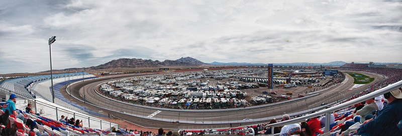 Panoramic view of The Las Vegas Motor Speedway during the 2011 NASCAR Kobalt Tools 400 race.